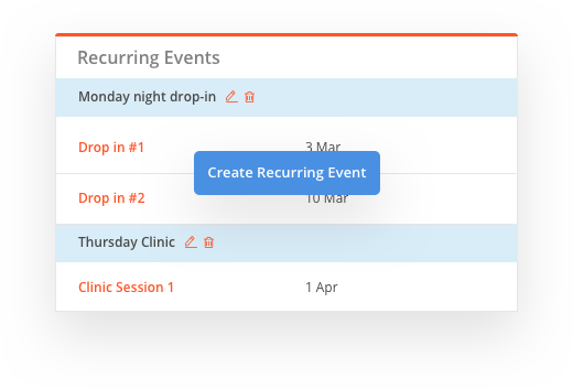 sportyhq Recurring events